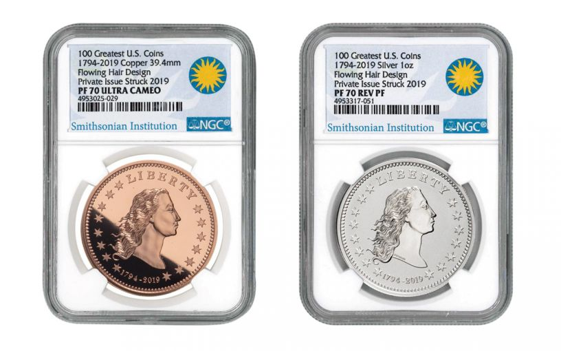 1794-2019 America's First Silver Dollar 1-oz Silver & Copper 2-Piece Set NGC PF70UC - Smithsonian Label