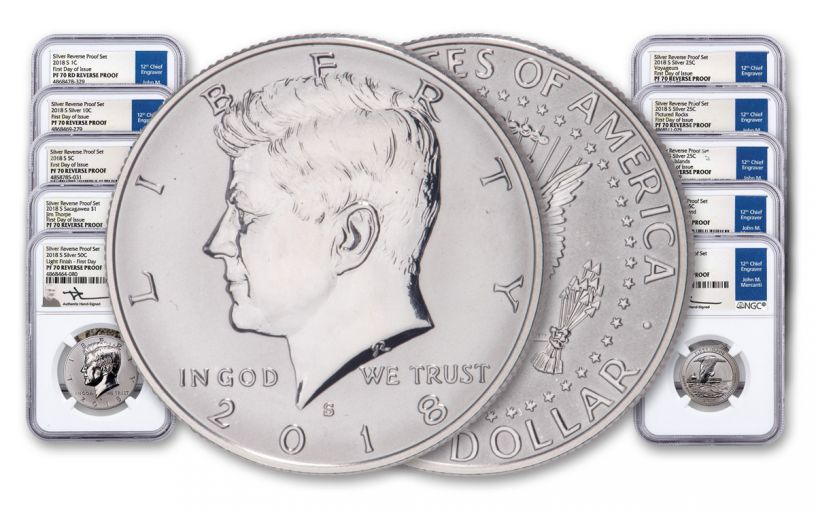 2018-S Silver Reverse Proof Set with Light Finish Kennedy Half Dollar NGC PF70 First Day of Issue - Mercanti Signed Labels