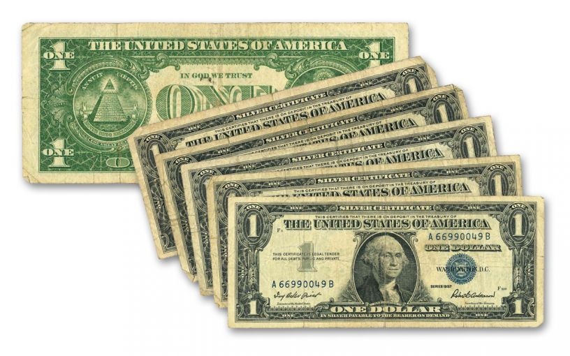 1957 Silver Dollar Certificate Paper Currency 5-Pack Set VF