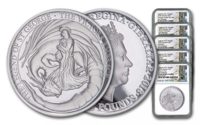 2018 Gibraltar 2-oz Silver Legends of St. George 5-Piece Set High Relief NGC PF69UC First Releases + Bonus 1-oz Proof