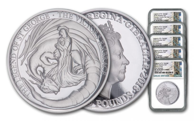 2018 Gibraltar 2-oz Silver Legends of St. George 5-Piece Set High Reielf NGC PF70UC First Releases + Bonus 1-oz Proof