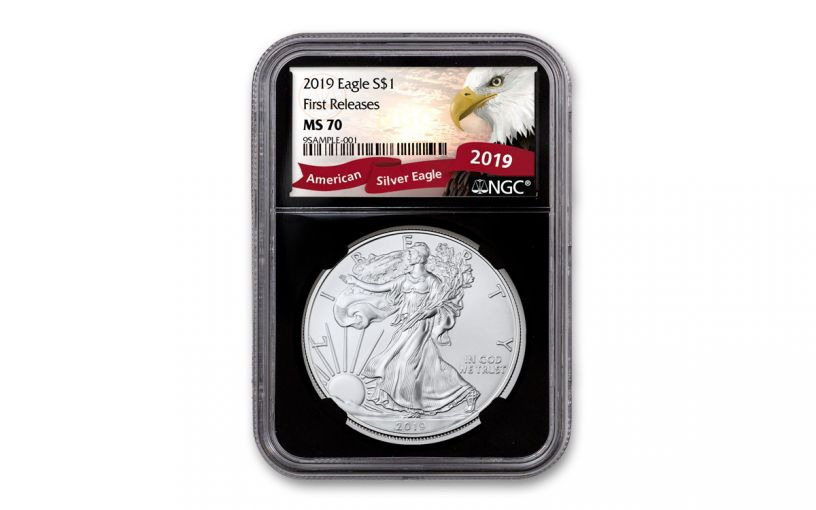 2019 $1 1-oz Silver American Eagle NGC MS70 First Releases - Black Core, Eagle Label