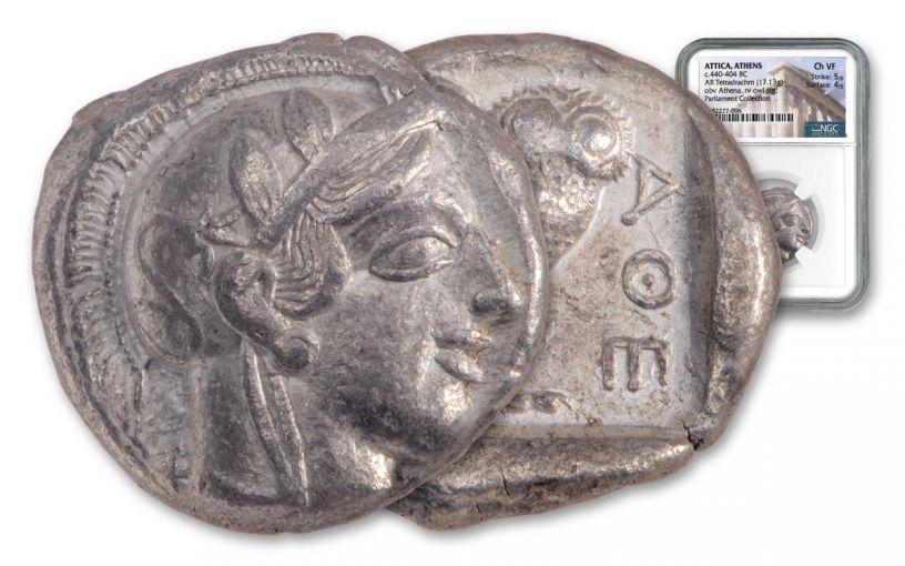 440–404 B.C. Ancient Attica Athens Silver Athena Owl Tetradrachm NGC Ch VF - The Parliament Collection