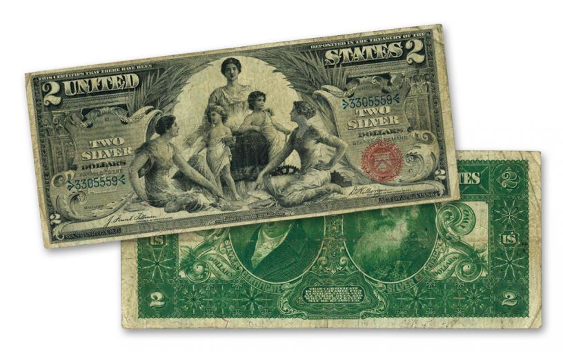 1896 History Educational Series $2 Silver Certificate Currency Note PMG VF