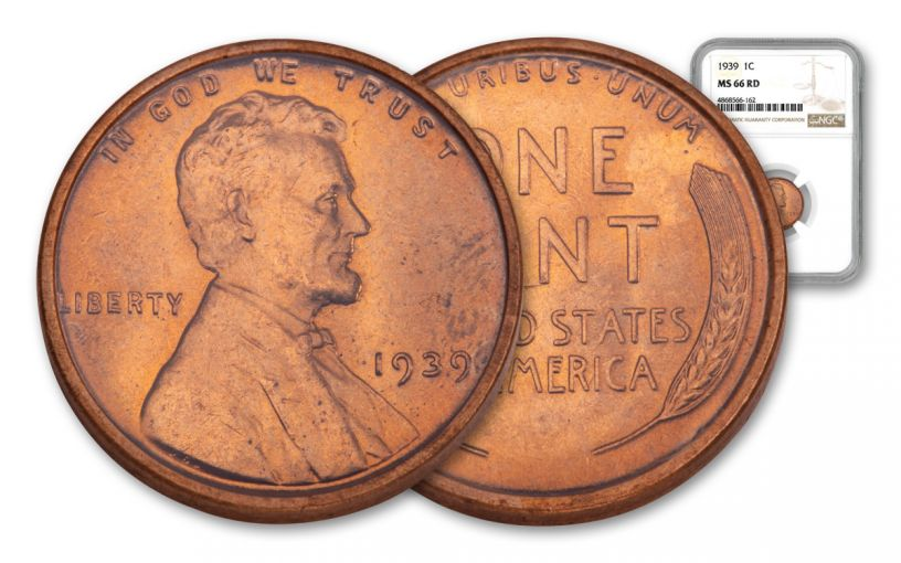 1939-P One Cent Lincoln NGC MS66 Red