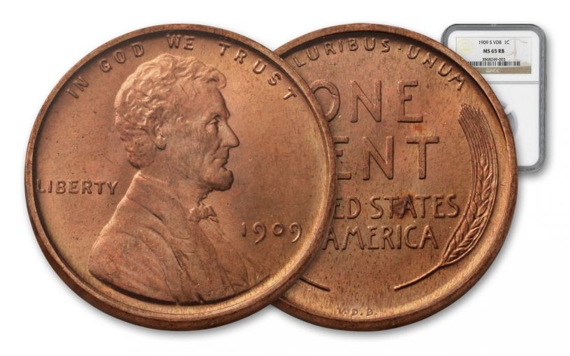 1909-P One Cent Lincoln VDB NGC MS65 Red-Brown