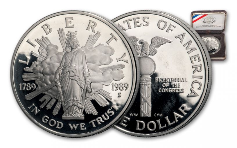 1989-S Silver Dollar U.S. Congress Bicentennial Commemorative Proof