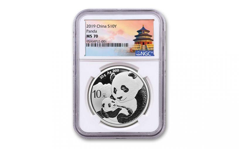 2019 China 30-Gram Silver Panda NGC MS70 w/Shanghai Temple Label