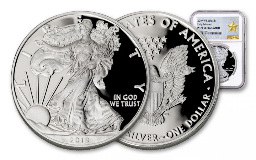 2019-W $1 1-oz Silver American Eagle NGC PF70UC Early Releases - Gold Star Label