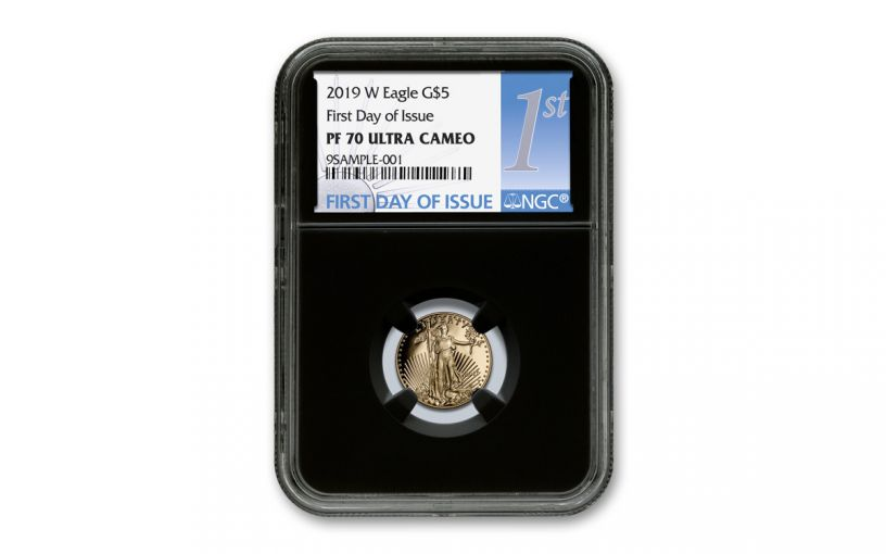 2019-W $5 1/10-oz Gold American Eagle NGC PF70UC First Day of Issue - Black Core