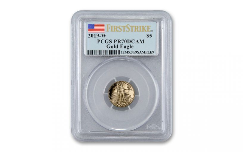 2019-W $5 1/10-oz Gold American Eagle PCGS PR70DCAM First Strike - Flag Label