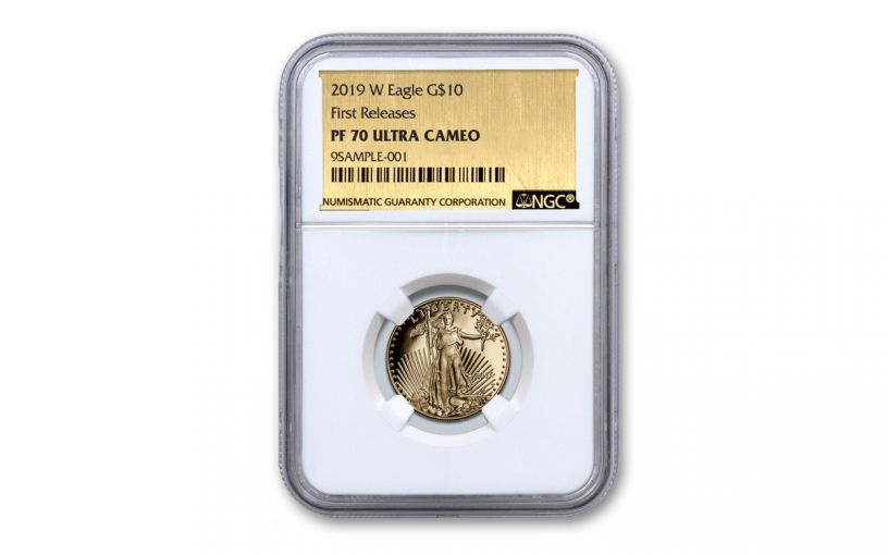 2019-W $10 1/4-oz Gold American Eagle NGC PF70UC First Releases - Gold Foil Label