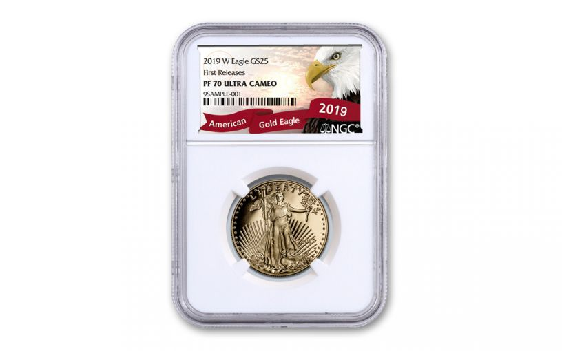 2019-W $25 1/2-oz Gold American Eagle NGC PF70UC First Releases - Eagle Label