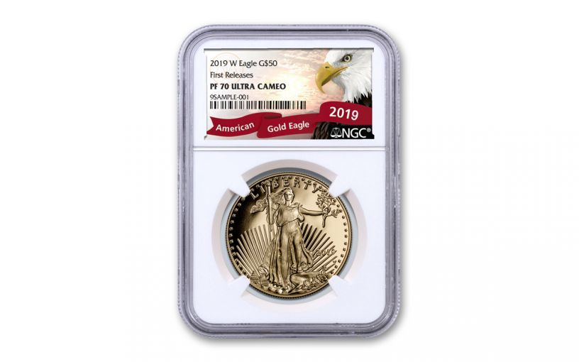 2019-W $50 1-oz Gold American Eagle NGC PF70UC First Releases - Eagle Label
