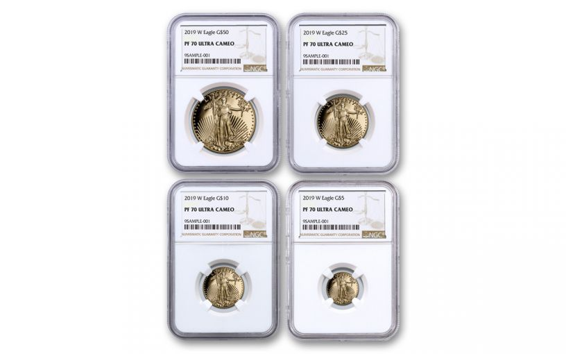 2019-W Gold American Eagle 4-Piece Set NGC PF70UC