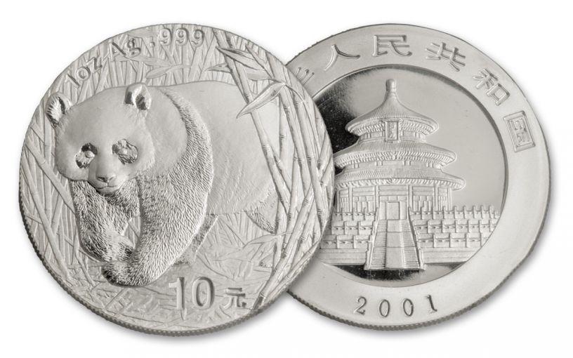 2001 China 1-oz Silver Panda BU