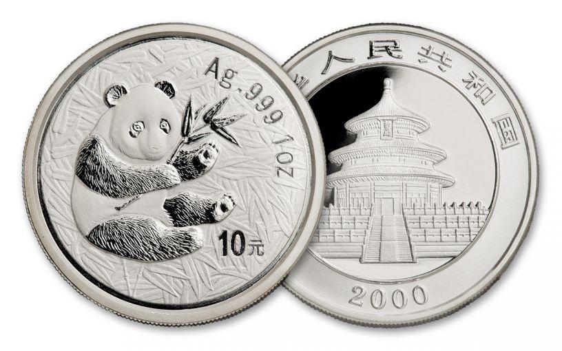 2000 China 1-oz Silver Panda BU
