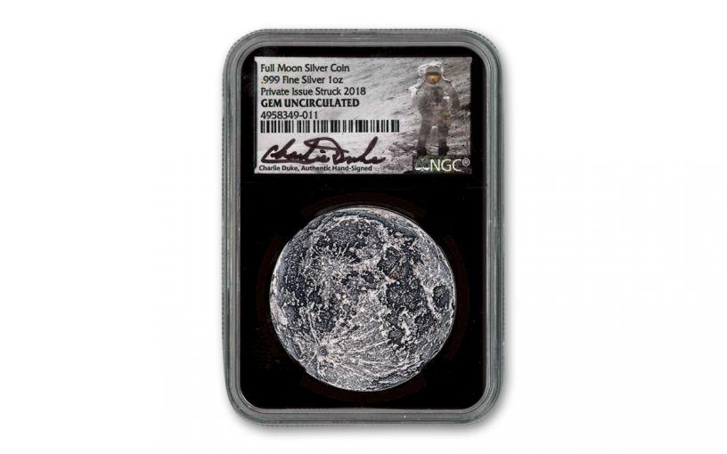 Shire Mint 1-oz Silver Supermoon Medal NGC Gem BU - Black Core, Charlie Duke Signed Label, Apollo 11 50th Anniversary