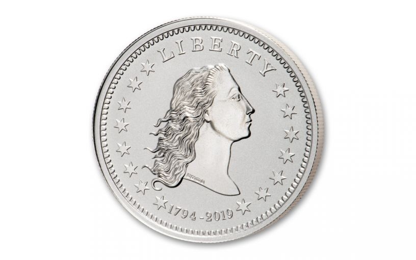 1794-2019 1-oz Silver America's First Silver Dollar Reverse Proof w/Smithsonian Label