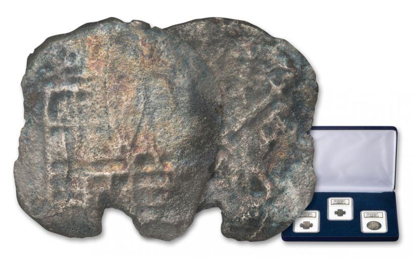 1556-1622 Spain Nuestra Señora Del Rosario Silver Reales 3-piece Set NGC Shipwreck Effect