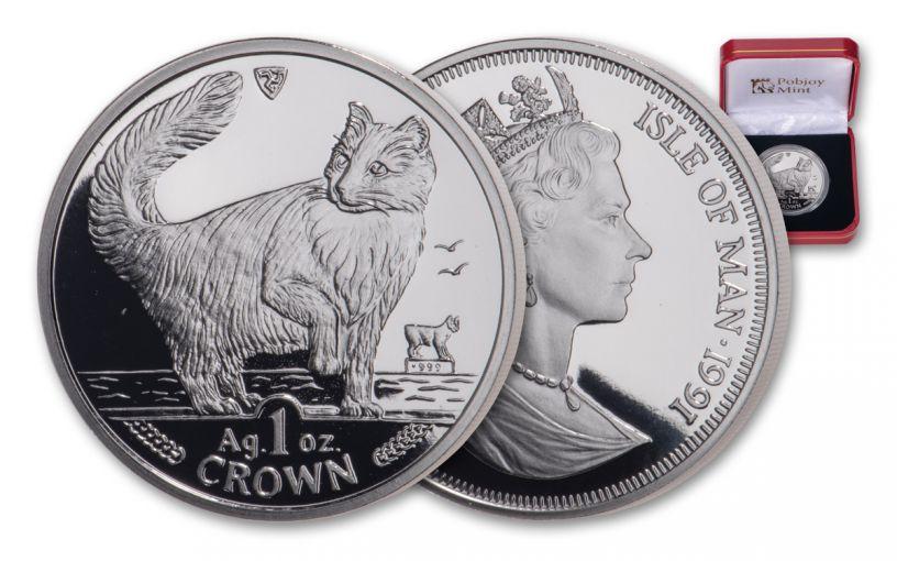 1991 Isle of Man 1-oz Silver Norwegian Cat Proof