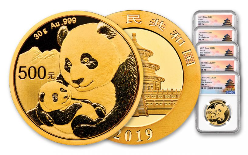 2019 China Gold Panda 5-Piece Set NGC MS70 First Releases - Temple Label