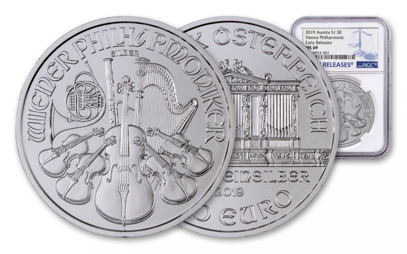 2019 Austria 1-oz Silver Philharmonic NGC MS69 Early Releases