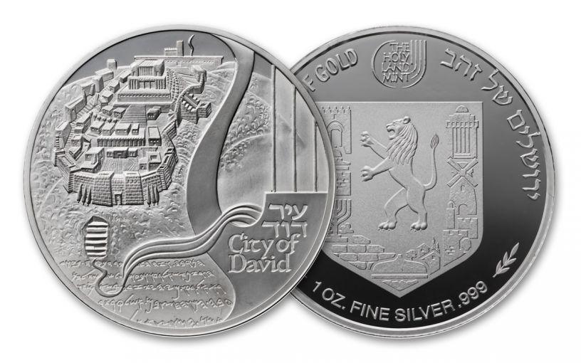 "2018 Israel 1-oz Silver City of David ""Views of Jerusalem"" Medal BU"
