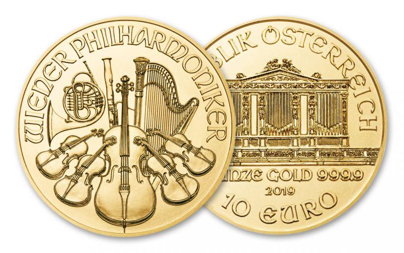 2019 Austria 1/10-oz Gold Philharmonic BU