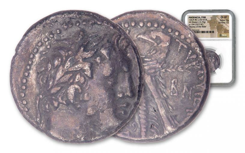 23-22 BC Ancient Phoenicia Silver Shekel of Tyre NGC Choice VF - Money of the Bible Year 104