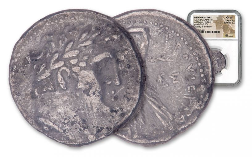 31-30 BC Ancient Phoenicia Silver Shekel of Tyre NGC Choice VF - Money of the Bible Year 96