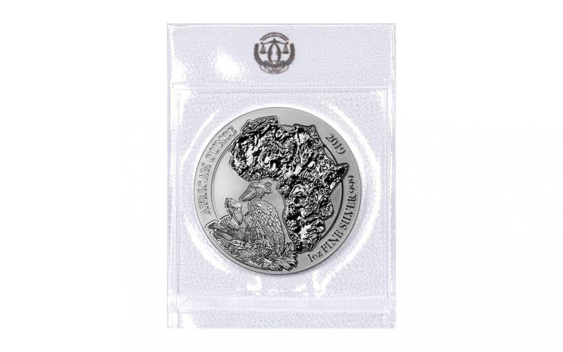 2019 Rwanda 50 Francs 1-oz Silver African Shoebill BU