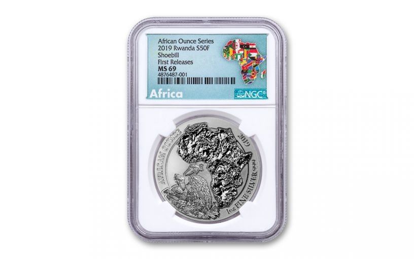 2019 Rwanda 50 Francs 1-oz Silver African Shoebill NGC MS69 First Releases