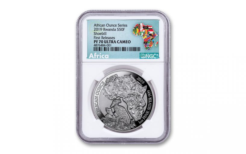 2019 Rwanda 50 Francs 1-oz Silver African Shoebill NGC PF70UC First Releases