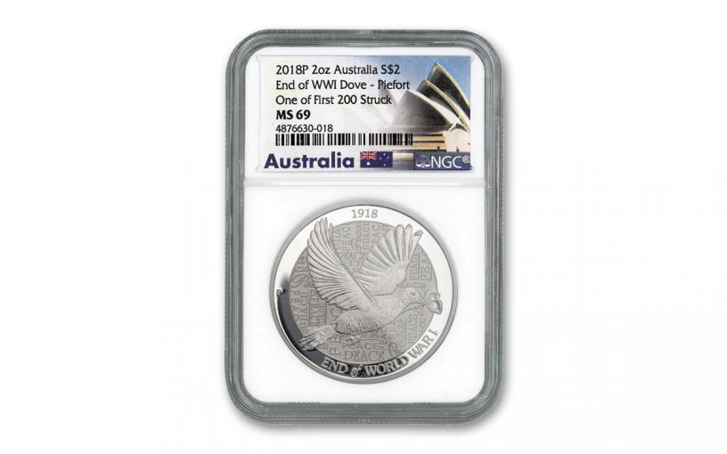 2018 Australia $2 2-oz Silver Piedfort Dove NGC MS69 One of First 200 Struck - Opera House Label