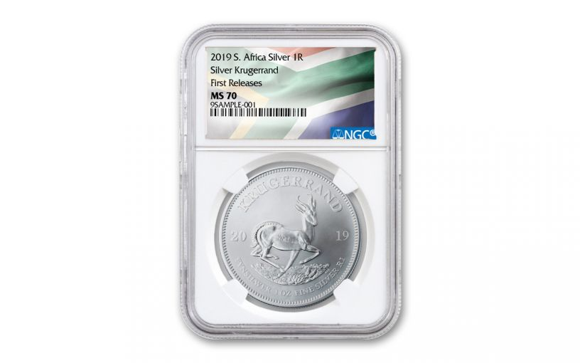 2019 South Africa 1-oz Silver Krugerrand NGC MS70 First Releases - Flag Label