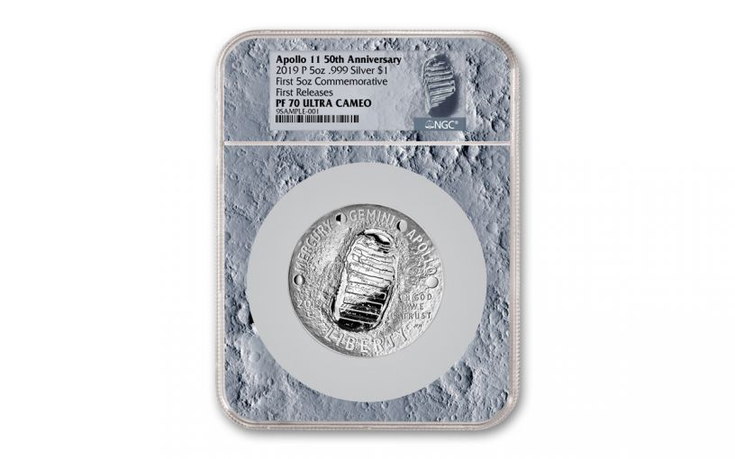 2019-P Apollo 11 50th Anniversary 5-oz Silver Dollar NGC PF70UC First Releases - Moon Core with Mission Patch