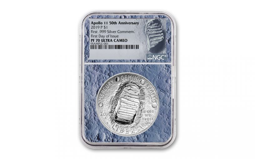 2019-P Apollo 11 50th Anniversary Silver Dollar NGC PF70UC First Day of Issue - Moon Core with Mission Patch