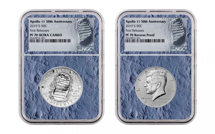 2019-S Apollo 11 50th Anniversary Half Dollar & Kennedy Half Dollar 2-Piece Set NGC PF70 First Releases - Moon Core with Mission Patch