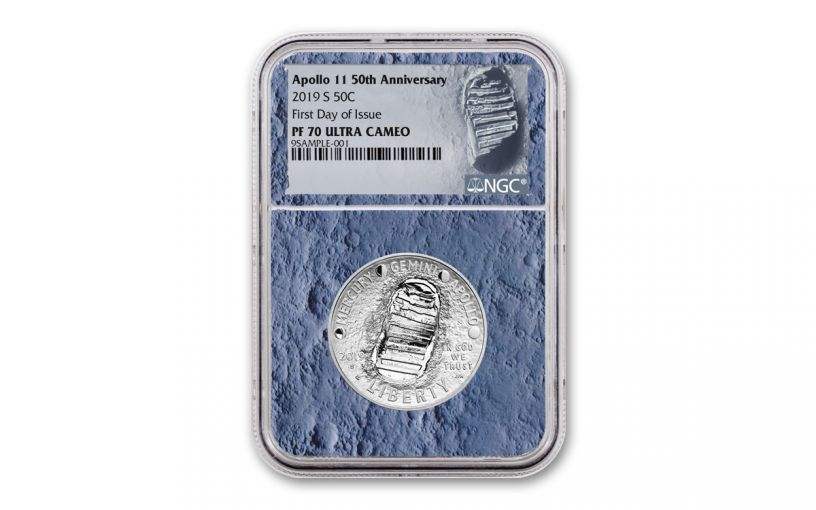 2019-S Apollo 11 50th Anniversary Clad Half Dollar NGC MS70 First Releases - Moon Core with Mission Patch