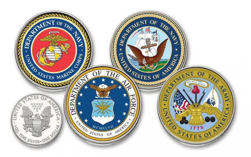 U.S. Armed Forces $1 1-oz Silver American Eagle Colorized Commemorative BU 4-Piece Set