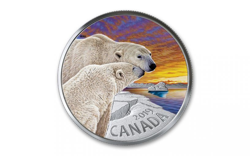 2019 Canada $20 1-oz Silver Fauna Polar Bear Colorized Proof