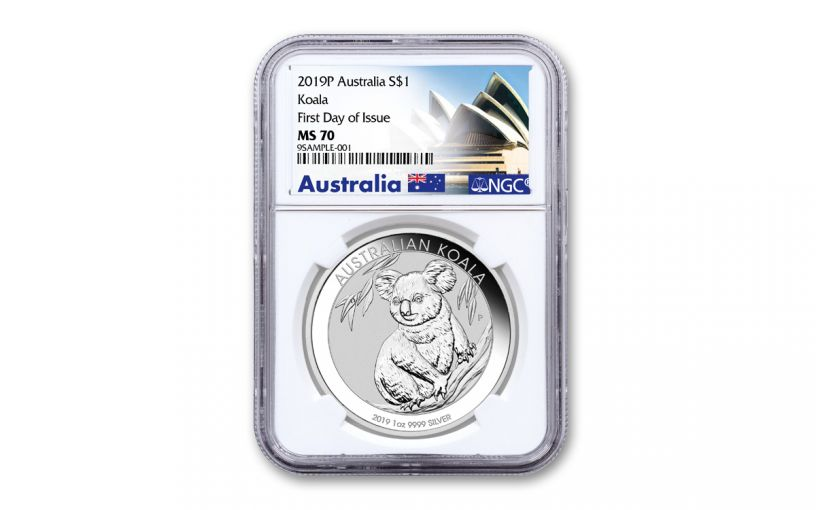 2019 Australia $1 1-oz Silver Koala NGC MS70 First Day of Issue - Opera House Label