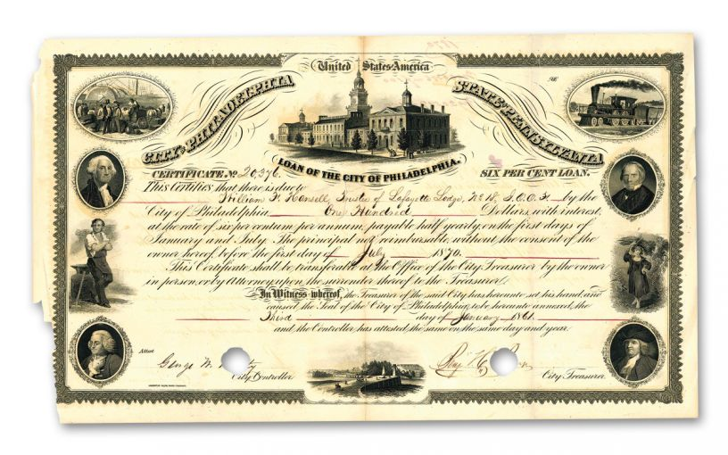 1850's–1870's City of Philadelphia Paper Bond