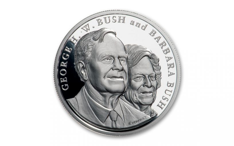 2018 George & Barbara Bush 1-oz Silver Commemorative Medal Proof