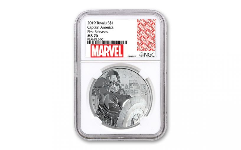 2019 Tuvalu $1 1-oz Silver Captain America NGC MS70 First Releases - Marvel Label