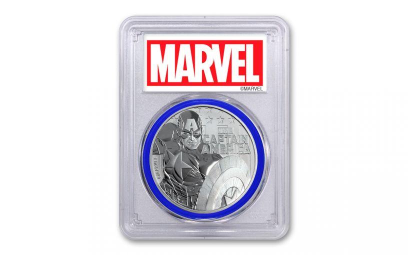 2019 Tuvalu $1 1-oz Silver Captain America PCGS MS70 First Strike - Blue Core, Marvel Label