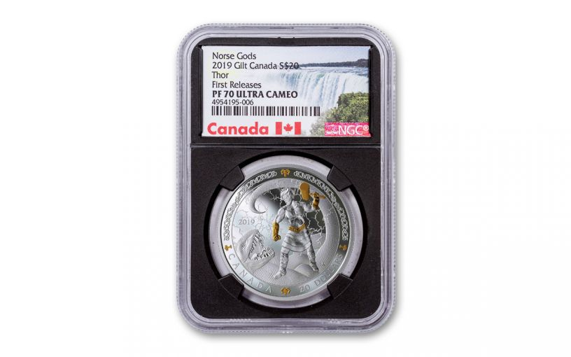 2019 Canada $20 1-oz Silver Thor the Norse Gods Series Gilt NGC PF70UC First Releases - Black Core, Canada Label