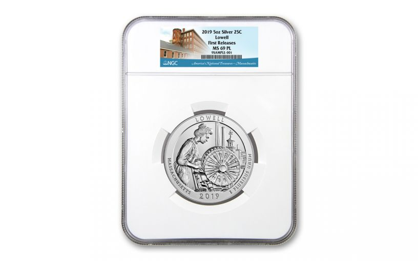 2019 5-oz Silver Quarter America the Beautiful Lowell National Historic Park NGC MS69 PL First Releases