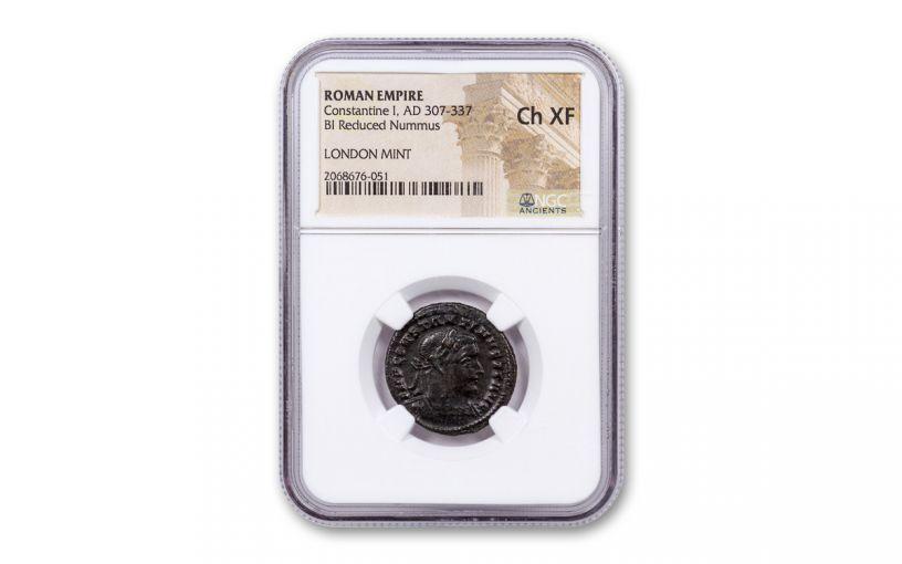 AD 307-337 Ancient Billon Bronze Roman Nummus of Constantine I London Mint NGC Ch XF